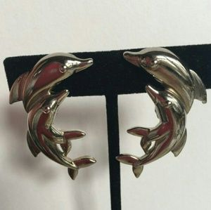 Vintage Dolphin Clip On Earings by Avon